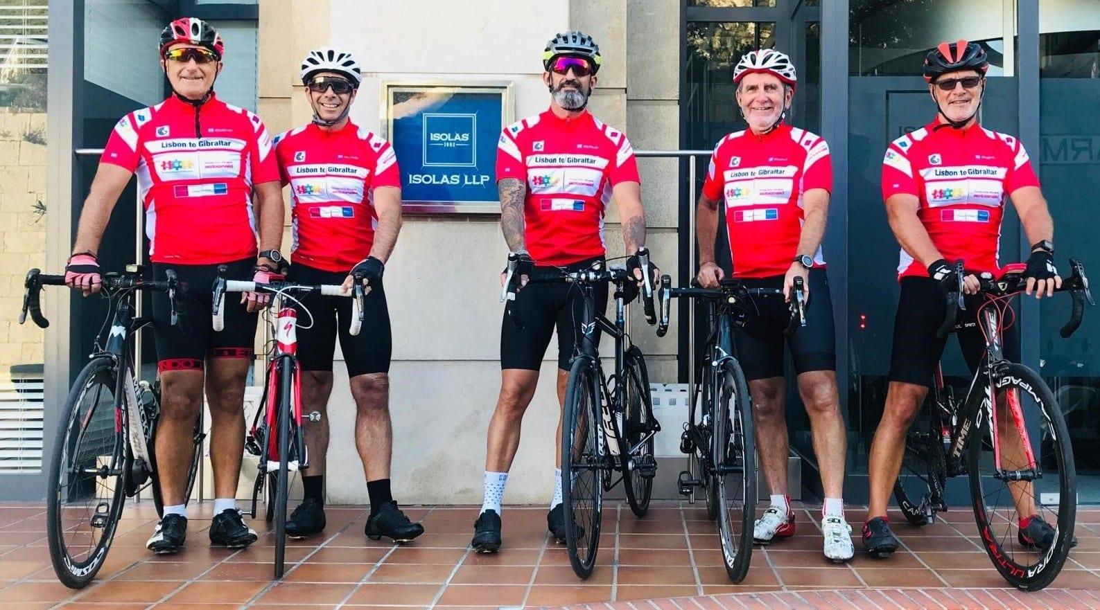 Cyclists Ian Howes, Jimmy Alcantara, Louis Hook, Michael Vella, and Jason Galton